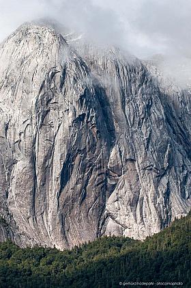 Vertical rock wall of Cerro Trinidad, Cochamo Valley in Patagonia Chile