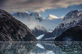 Pia Fjord and Cordillera de Darwin, northern arm of Beagle channel in Tierra del Fuego Chile