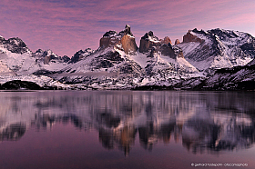 Cuernos of Torres del Paine and lago Pehue in morning light