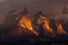 Spectacular sunrise at Torres del Paine National Park, Cuernos in orange light