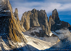 Impressive granit mountains of French Valley, Valle Frances, Torres del Paine in Chile