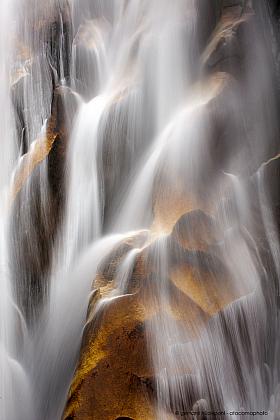 Long exposure: detail of beautiful mystic waterfall, Valle Cochamo, Patagonia Chile