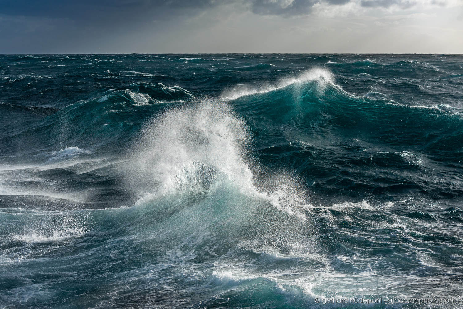 Beautiful waves captured during rough sea days in the Antarctic ocean