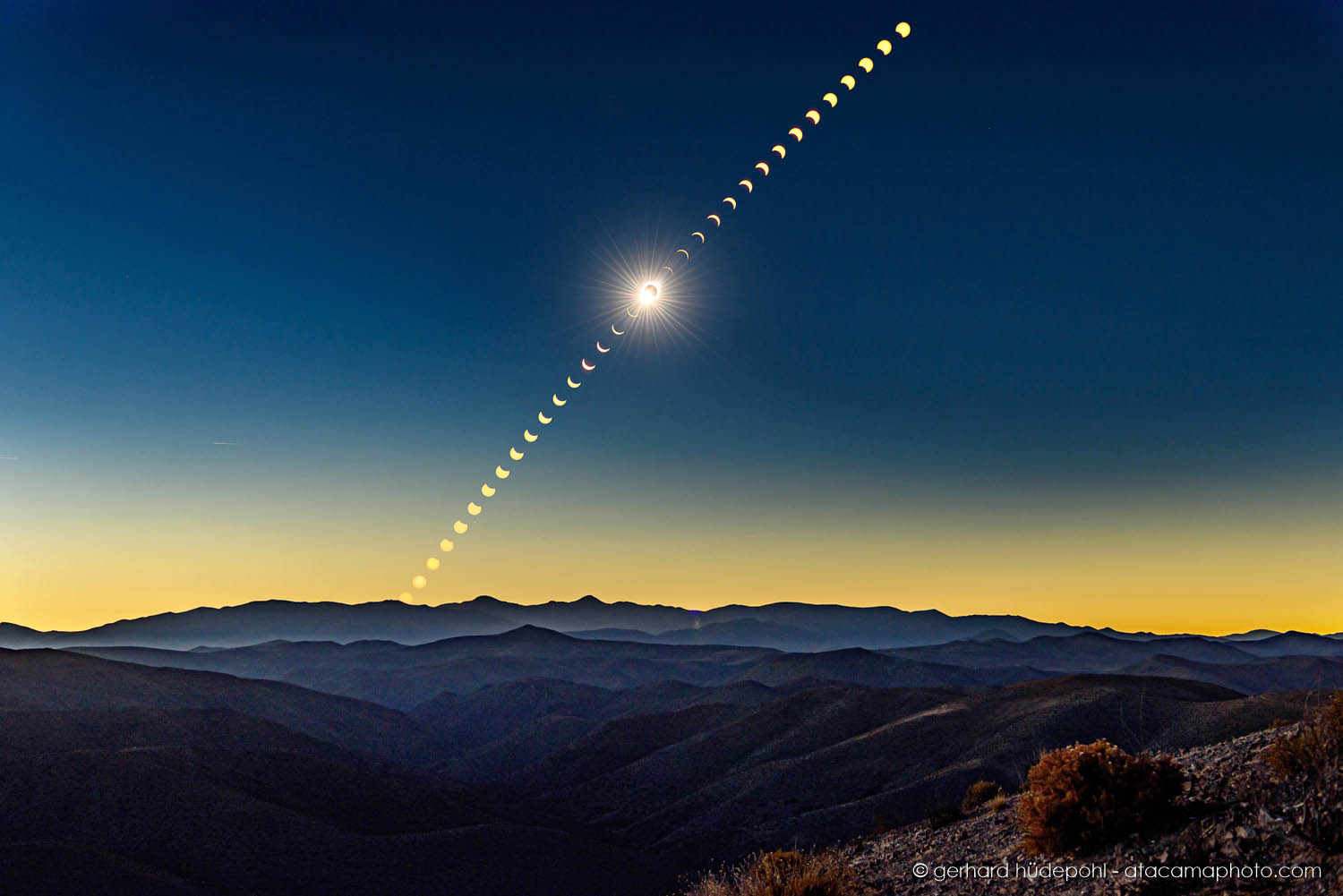 Sequence showing the total solar eclipse in the Atacama region in July 2019